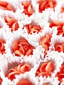 Red sugar roses for decorating cakes