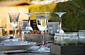 A glass of wine at a place setting