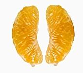 Two mandarin orange segments