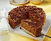 Hazelnut chocolate cheesecake with grated chocolate, a piece cut