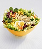 Mixed salad leaves with vegetables, egg and chicken