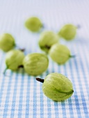 Gooseberries on checked fabric