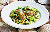 Scallop salad with brussels sprouts and mushrooms