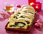 Stollen filled with poppy seeds and cranberries