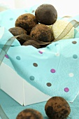Truffle pralines in a gift box
