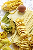 Various types of pasta with ingredients