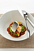 Branzino (sea bass) and prawns with vegetables (sweet and sour)