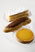 Custard slice, chocolate eclair and lemon tart