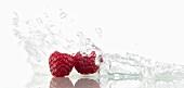 Raspberries with splashing water
