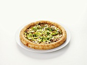 Duck, mushroom and spring onion pizza