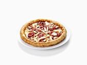 Ham, mushroom and onion pizza