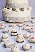 Wedding cake and petit fours