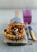Poppy seed and aubergine tartlets