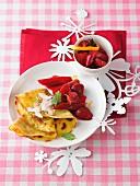 Coconut crepes with strawberry and rhubarb compote