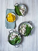 Turkey with beans, mange tout and saffron noodles