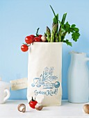 Paper bag filled with vegetables