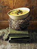 Chestnut and potato soup with rosemary croutons