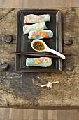 Vietnamese summer rolls with a coriander dip