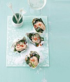 Gratin of spinach on oysters, overhead view