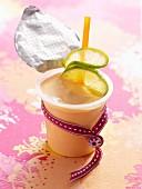 Papaya and yoghurt shake with lime