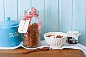 A jar of crunchy chocolate muesli as a gift