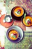 Cream of pepper soup with chilli cream