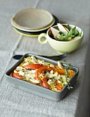 Pumpkin gratin with Jerusalem artichokes and goat's cheese served with Roquefort and pears