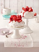 Meringue nests filled with strawberries and mascarpone cream
