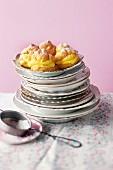 Choux pastry doughnuts with vanilla cream
