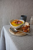 Pumpkin and potato soup with lamb fillet