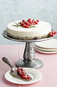 Ricotta cake with rosemary, honey and redcurrants