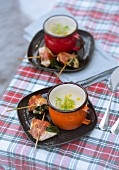 Celery soup with chicken saltimbocca