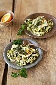 Parsley pasta with orange zander