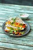 Quesadillas filled with sweetcorn and peppers
