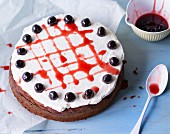 Amarena cake with amarena cherries and cream