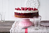 Raspberry cream cake with poppyseeds