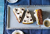 Orange and banana cake with cream and chocolate beans