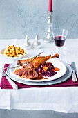 Roast goose with chanterelle mushroom potato orzo pasta