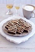 Zebra biscuits with pecan nuts