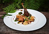 Oven-roasted guinea fowl with mustard peaches