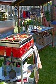 A barbecue and utensils for a garden party
