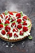A strawberry tart with basil and lime cream