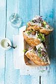 Vegetarian donner with falafel and yogurt aioli