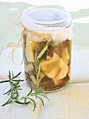 Pickled mushrooms with rosemary