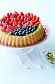 A berry cake with pistachios for Easter