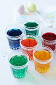 Jars of Easter egg paint