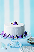 An Easter cake decorated with pansies