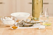Ingredients for prawns in tempura batter