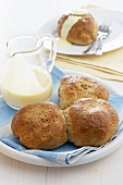 Rohrnudeln (sweet yeast dumplings) with custard