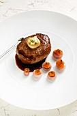 Alpine ox ribeye steak with bone marrow and stuffed onions
